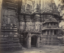 Views in Mysore. Bailoor Temple [Chennakeshava Temple, Belur]. Detail of carvings on north façade of tower